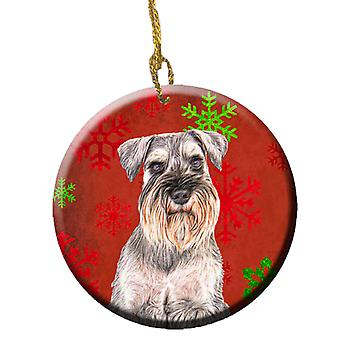 Red Snowflakes Holiday Christmas  Schnauzer Ceramic Ornament