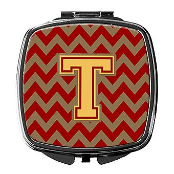 Letter T Chevron Garnet and Gold  Compact Mirror