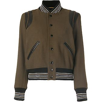 Saint Laurent Damen 376283Y213Q1360 Grün Wolle Jacke
