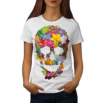 Flower Peace Death Skull Women WhiteT-shirt | Wellcoda