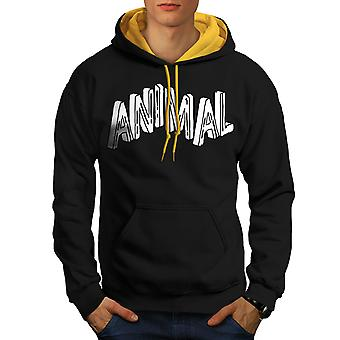 Motivation Beast Animal Men Black (Gold Hood)Contrast Hoodie | Wellcoda