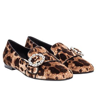 Dolce&Gabbana loafers shoes in leopard print Velvet