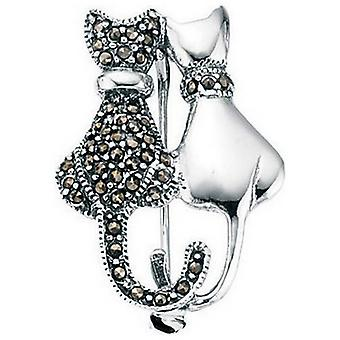 Beginnings Marcasite and Plain Double Cat Brooch - Silver