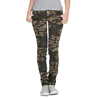 Camouflage Print Skinny Stretch Jeans - donkergroen