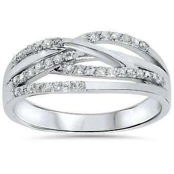1 / 5ct Diamant Crossover Ring 10K Weißgold