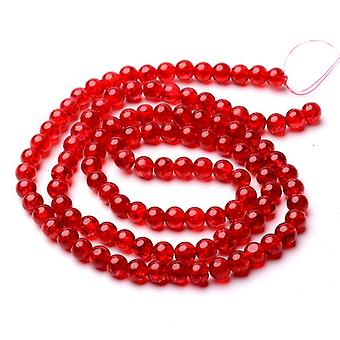 Strand 95+ Red Cracked Glass 8mm Plain Round Beads Y07635