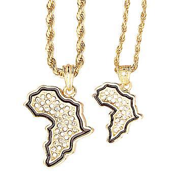Iced out bling mini ketting hanger set - 2 x Afrika goud