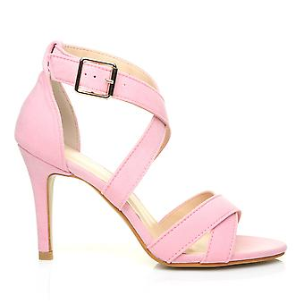 SOPHIE Baby Pink Faux Suede Strappy High Heel Sandals