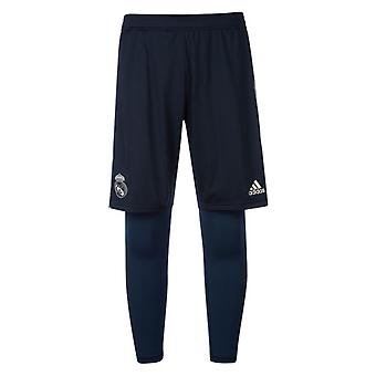2018-2019 Real Madrid Adidas 2in1 Training Shorts (dunkelgrau)