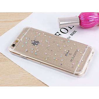 Transparent TPU shell with glittering stars to the iPhone (8)