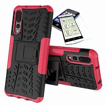 Dla Huawei P20 za hybrydowe przypadek 2 kawałek SWL różowy + hartowane szkło torba obudowy rękaw