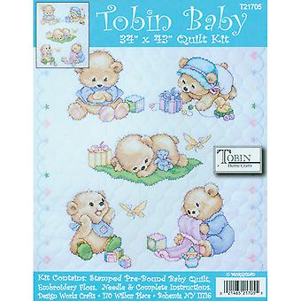 Baby Bears Quilt Stamped Cross Stitch Kit