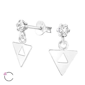 Hanging Triangle Crystal From Swarovski® - 925 Sterling Silver Ear Studs - W37642x