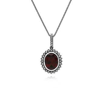 Gemondo Sterling Silver Garnet & Marcasite Oval Pendant with 45cm Chain
