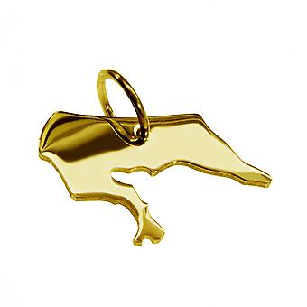 Trailer map BORKUM pendant in solid 585 yellow gold