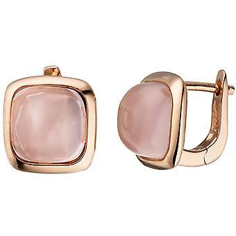Хооп серьги 925 серебряные розового золота покрытием серьги 2 розовый стекла