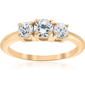 de drie stenen 1ct Diamond verjaardag verlovingsring 14K Yellow Gold
