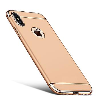 Cell phone cover case for Apple iPhone XS bumper of 3 in 1 cover chrome case gold