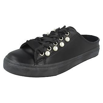 Damen-Fleck auf rückenfreie Schnürschuh Pumps - schwarz Synthetik - UK Größe 3 - EU Größe 36 - Größe 5