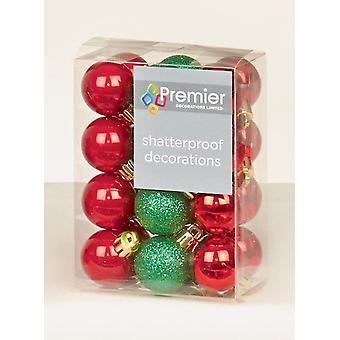 Premier decoraciones 24pc 30mm Navidad árbol de Navidad decoración Mini adornos rojos y verdes