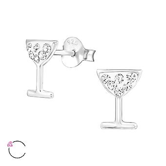 Cocktailglas - 925 Sterling Zilver Crystal Ear Studs - W32774x