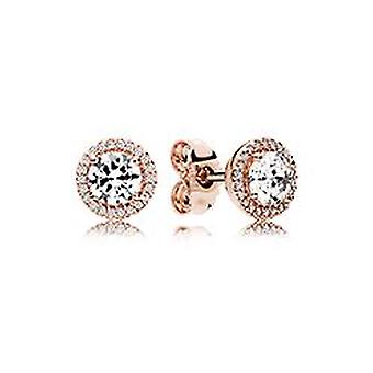 Pandora Sterling Silver ROSE Round Clear CZ Earrings - 286272CZ