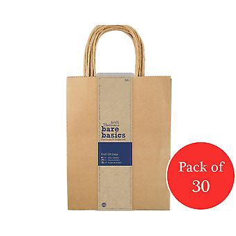 30 Papermania Large Natural Brown Kraft Gift Bags - Recycled Style