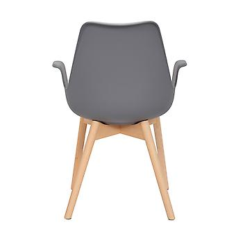 Chair Chairs Comfortable Armrest Wood Retro Modern Design Grey 2Er Set