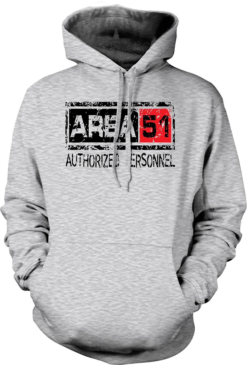 Mens Hoodie - Area 51 Authorised Personnel - UFO Funny Aliens