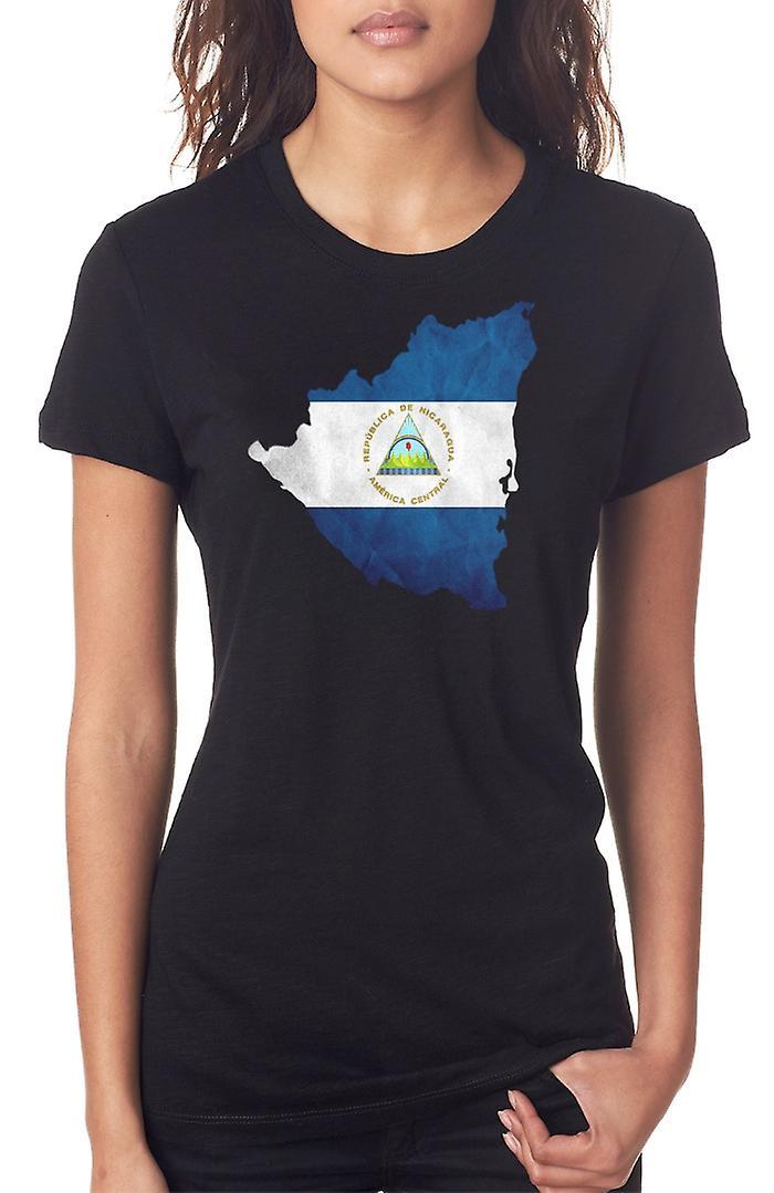 Nicaragua Bandiera Mappa Ladies T Shirt