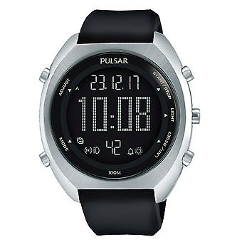 Pulsar Black Dial Black Rubber Strap Men's Watch P5A023X1