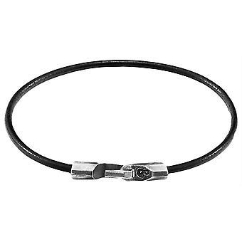 Anchor and Crew Talbot Round Leather Bracelet - Raven Black