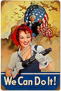 We Can Do It Girl rusted metal sign 1812