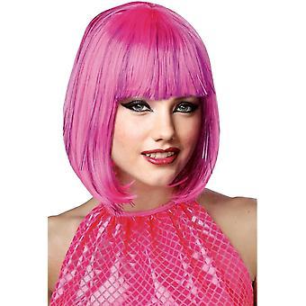 Pink Shimmering Bob Wig For Women