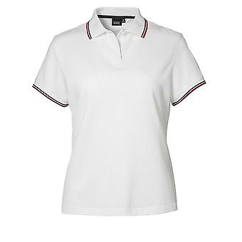 ID Womens/Ladies Pique Fitted Short Sleeve Contrast Polo Shirt