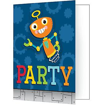 Robot invitations 8 piece children birthday theme party party birthday