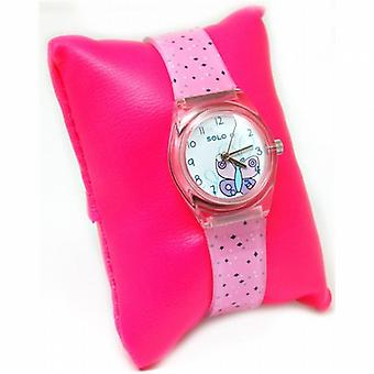 Solo Butterfly Dial Girls Spotty Pink Plastic Strap Watch S2468