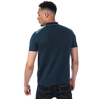 Mens Pretty Green Contrast Panel Knitted Polo Shirt In Blue- Short Sleeve- 3