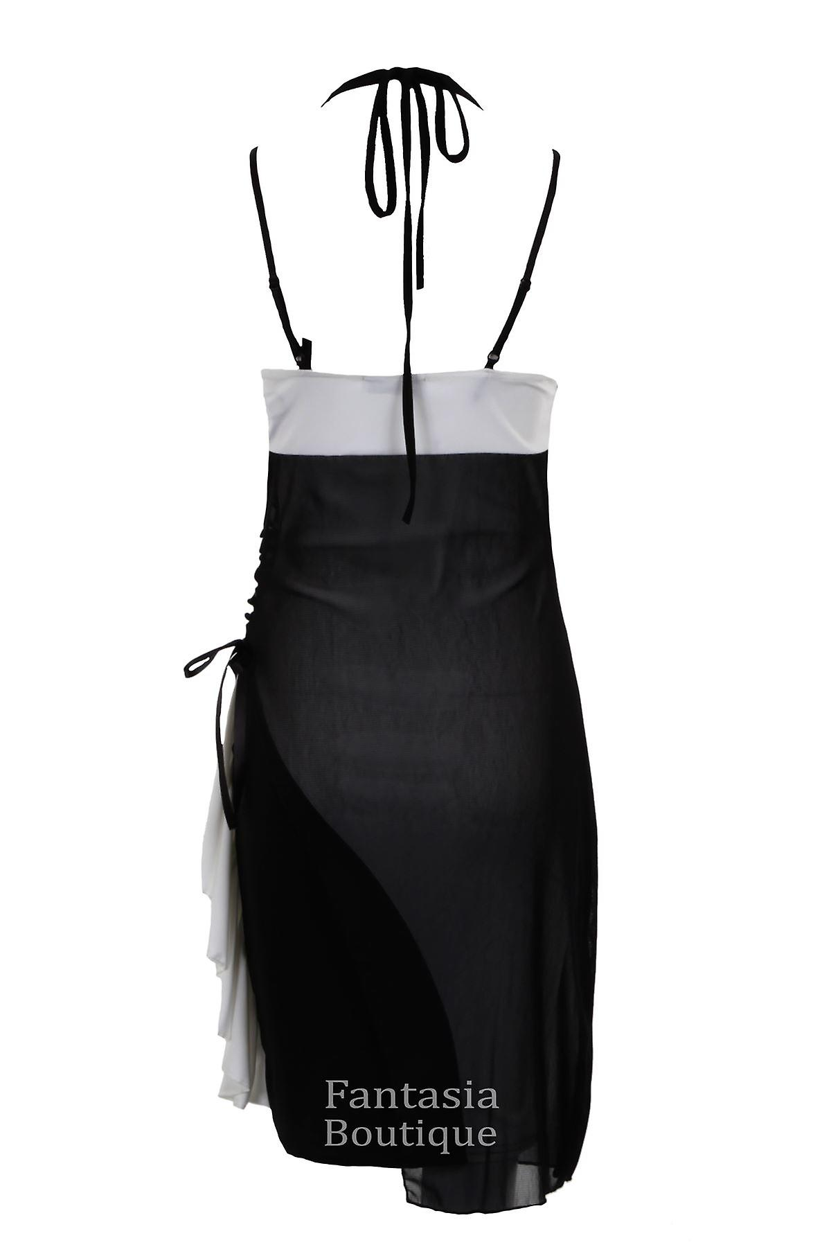 New Ladies Sleeveless Strap Halter Neck Mesh Side Gathered Bow Women's Dress