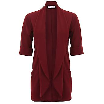 Ladies 3/4 Turn Up Sleeve Textured Open Front Collared Waterfall Blazer Jacket