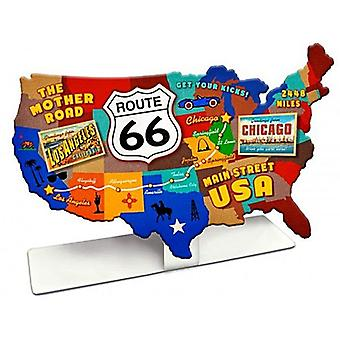 Route 66 USA Road Map die-cut Table Topper steel sign  220mm x 130mm  (pst)