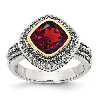 925 Sterling Silver With 14k Garnet Ring - Ring Size: 6 to 8
