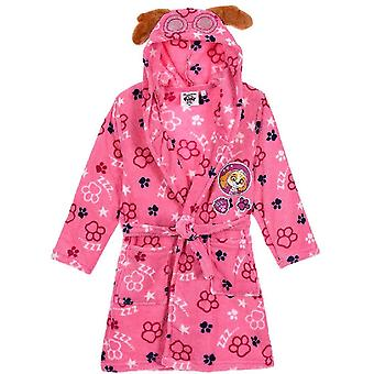 Girls HS2084 Paw Patrol Hooded Coral Fleece Dressing Gown