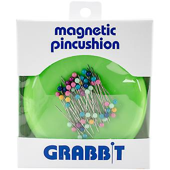 Grabbit Magnetic Pincushion W/50 Pins-Lime 4577