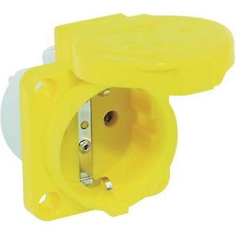 Add-on socket IP44 Yellow PCE 105-