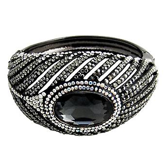 Butler & Wilson Crystal Feather met ovale steen Snap Bangle Pewter