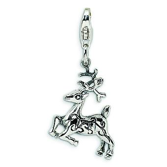 Sterling Silver 3-D Polished Reindeer With Lobster Clasp Charm - 2.5 Grams - Measures 33x14mm