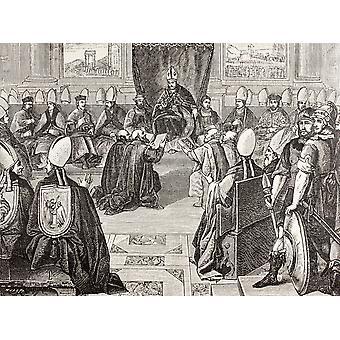 El Consejo de Vienne XV Concilio Ecuménico de la Iglesia Catolica romana de la iglesia que se reunió entre 1311 y 1312 después de un Fresco en la Biblioteca Vaticana por el Papa Pío V de militares y religiosos
