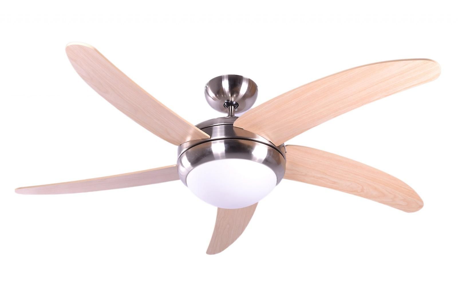 Ceiling fan Makkura Chrome brushed / maple blades with remote control