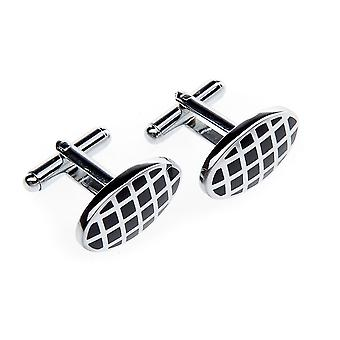 Frédéric Thomass cufflinks oval diamonds black silver